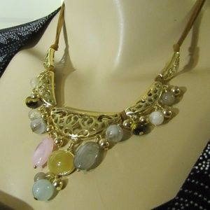 Sonoma Gold, Brown, Pink & Seafoam Mint Necklace